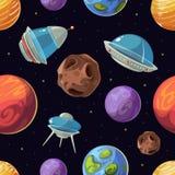 Espacio de la historieta con los planetas, naves espaciales, fondo inconsútil del vector del UFO stock de ilustración