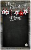 Espacio de madera de la copia de la pizarra del menú del restaurante de la Feliz Navidad Foto de archivo