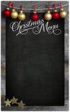 Espacio de madera de la copia de la pizarra del menú del restaurante de la Navidad Imágenes de archivo libres de regalías