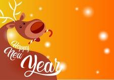 Espacio de Santa Helper Holiday Banner Copy del reno de la tarjeta de felicitación de la Feliz Año Nuevo de la Feliz Navidad Foto de archivo libre de regalías