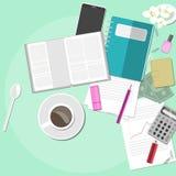 Espacio de trabajo con café y documentos Imagen de archivo libre de regalías