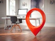 Espacio de trabajo con el monitor en blanco en una tabla y un perno rojo del geotag o del mapa representación 3d stock de ilustración