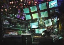 Espacio de trabajo creativo de la ciencia ficción Fotos de archivo libres de regalías