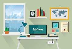 Espacio de trabajo creativo de la oficina en diseño plano Imágenes de archivo libres de regalías