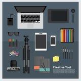 Espacio de trabajo creativo de la herramienta aislado Imagen de archivo libre de regalías