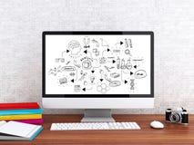 espacio de trabajo 3d y ordenador modernos con el sket de la química y de la ciencia stock de ilustración