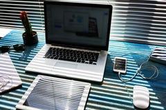 Espacio de trabajo del negocio en hogar Fotografía de archivo libre de regalías