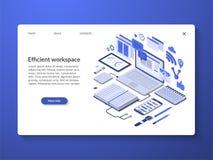 Espacio de trabajo eficiente, concepto de la organización del flujo de trabajo stock de ilustración