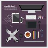 Espacio de trabajo gráfico de la herramienta aislado Imágenes de archivo libres de regalías