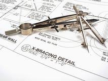 Espacio de trabajo, herramientas, y modelos del arquitecto Imágenes de archivo libres de regalías