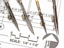 Espacio de trabajo, herramientas, y modelos del arquitecto Foto de archivo libre de regalías