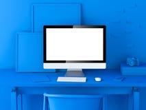 Espacio de trabajo moderno azul abstracto representación 3d Fotos de archivo libres de regalías