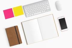 Espacio de trabajo moderno con la taza de café, smartphone, papel, cuaderno, t Imágenes de archivo libres de regalías