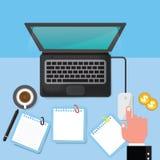 Espacio de trabajo moderno de la oficina de negocios Ilustración del vector Foto de archivo