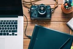 Espacio de trabajo para el fotógrafo Fotografía de archivo libre de regalías
