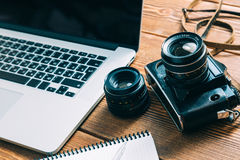 Espacio de trabajo para el fotógrafo Imágenes de archivo libres de regalías
