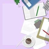 Espacio de trabajo rosado con café Fotografía de archivo libre de regalías