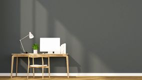 Espacio de trabajo y pared gris oscuro en el hogar o el apartamento - diseño interior para las ilustraciones - representación 3D libre illustration