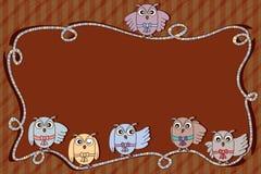 Espacio del marco de la cinta del búho Imagenes de archivo