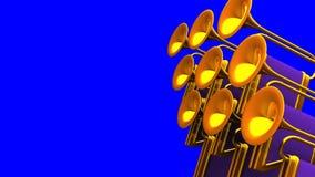 Espacio del texto de la llave de Fanfare On Blue Chroma stock de ilustración