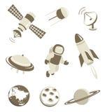 Espacio e iconos del transporte aéreo fijados Imágenes de archivo libres de regalías