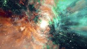 Espacio 2240: el volar a través de campos y de galaxias de estrella en espacio profundo ilustración del vector