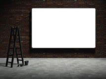espacio en blanco 3d que hace publicidad de la cartelera en la pared de ladrillo Foto de archivo libre de regalías