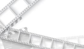 Espacio en blanco blanco con el marco de la tira de la película y chapaleta-tablero aislado en el fondo blanco Cine de la plantil ilustración del vector