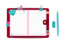 Espacio en blanco con vector del cuaderno del amor Foto de archivo libre de regalías