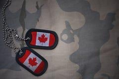 Espacio en blanco del ejército, placa de identificación con la bandera de Canadá en el fondo de color caqui de la textura fotografía de archivo libre de regalías