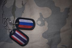 espacio en blanco del ejército, placa de identificación con la bandera de Rusia y Tailandia en el fondo de color caqui de la text Fotos de archivo libres de regalías