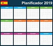 Espacio en blanco español del planificador para 2019 Planificador, orden del día o plantilla del diario Comienzo de la semana el  stock de ilustración