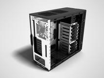 Espacio en blanco moderno del bloque de sistema para la representación de la perspectiva 3d del montaje del ordenador en fondo gr stock de ilustración