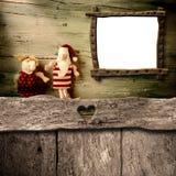Espacio en blanco, Papá Noel y reno de las tarjetas de Navidad Imagen de archivo