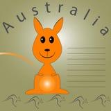 Espacio en blanco para las notas sobre Australia con los canguros y la colina Imágenes de archivo libres de regalías