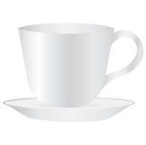 Espacio en blanco vacío de la taza blanca para el café o el té Foto de archivo libre de regalías