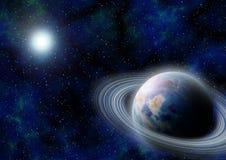 espacio exterior de la Ciencia-ficción con el planeta azul. Imagen de archivo libre de regalías