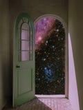 Espacio exterior a través del umbral arqueado Foto de archivo libre de regalías