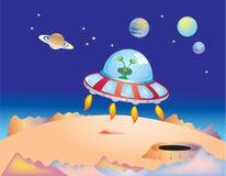 Espacio exterior y platillo volante Imagen de archivo