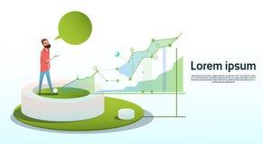 Espacio financiero de la copia de la carta de negocio del gráfico de Visualization Analysis Finance del hombre de negocios Imágenes de archivo libres de regalías