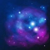 Espacio hermoso con la nebulosa, vector realista - EPS 10 Fotografía de archivo