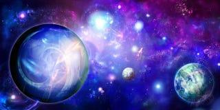 Espacio horizontal con tres planetas Imagenes de archivo