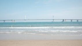 Espacio libre para el texto, una playa hermosa y lenta foto de archivo