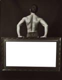 Espacio para el bodybuilder del texto Imagen de archivo