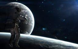 Espacio profundo Astronauta, planetas en el fondo del paisaje cósmico Los elementos de la imagen fueron suministrados por la NASA imagen de archivo libre de regalías