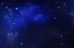 Espacio profundo Cielo nocturno, fondo azul abstracto stock de ilustración