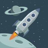 Espacio retro del vector con el cohete y los planetas Foto de archivo libre de regalías