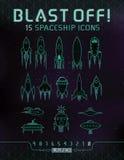 Espacio retro Rocket Icons Imagen de archivo