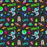 Espacio Rocket Cosmonaut Planets y modelo inconsútil de los extranjeros del UFO stock de ilustración