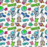 Espacio Rocket Cosmonaut Planets y modelo inconsútil de los extranjeros del UFO ilustración del vector